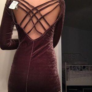 a brown velvet bodycon dress